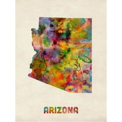 Art Print: Arizona Watercolor Map by Michael Tompsett: 24x18in found on Bargain Bro India from Art.com for $20.00
