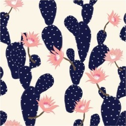 Art Print: Navy Blue Hand Drawn Cactus Tropical Garden Seamless Pattern. in Light Pink Background. by MSNTY: 12x12in