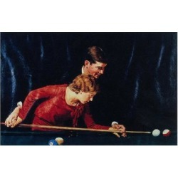 Giclee Print: Billiards Is Easy to Learn (or Couple Playing Billiards) by Norman Rockwell: 18x12in