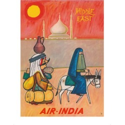 Premium Giclee Print: Middle East - Air India - Maharaja with Burka Veiled Woman by J B. Cowasji: 16x12in