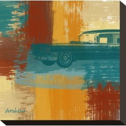 Stretched Canvas Print: Blue Retro Car Canvas Art by Yashna: 8x8in found on Bargain Bro India from Art.com for $53.00