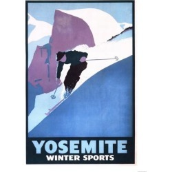 Art Print: Yosemite National Park, California - Winter Sports Skiing Promotional Poster by Lantern Press: 24x18in