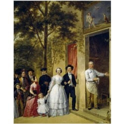 Giclee Print: Wedding at Coeur Volant at Marly, 1850, by Unknown French Painter, Detail: 24x18in