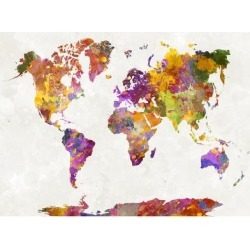 Giclee Print: World Map in Watercolor by paulrommer: 24x18in