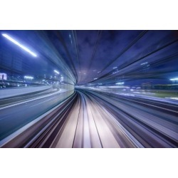 Photographic Print: Monorail Motion Blur on the Yurikamome in Tokyo, Japan. by SeanPavonePhoto: 24x16in