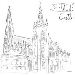 Art Print: Hand Drawn Illustration of Prague Castle, Czech Republic. by kotoko: 12x12in