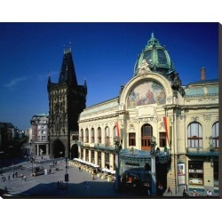 Stretched Canvas Print: Powder Tower, Municipal House, Prague, Central Bohemia, Central Bohemia, Czech Republic: 29x37in found on Bargain Bro India from Art.com for $160.00