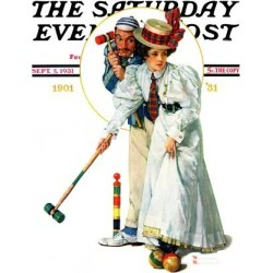 Giclee Print: Croquet Art Print by Norman Rockwell by Norman Rockwell: 24x18in
