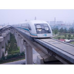 Photographic Print: Meglev Train Prepares to Depart Airport Train Station, Shanghai, China by Paul Souders: 24x18in