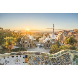 Photographic Print: Barcelona, Catalonia, Spain, Southern Europe. Unique Antoni Gaudi's architecture of Park Guell at s by Marco Bottigelli: 36x24in found on Bargain Bro India from Art.com for $30.00