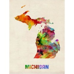 Art Print: Michigan Watercolor Map by Michael Tompsett: 24x18in found on Bargain Bro India from Art.com for $20.00