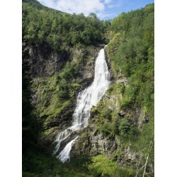 Photographic Print: Water Falling from Rocks, Stalheim, Norway: 24x18in