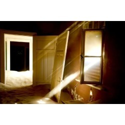 Photographic Print: Light Streaming Through Window On Sand Covered House In Kolmanskop Ghost Town by Enrique Lopez-Tapia: 12x8in