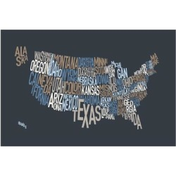 Art Print: United States Text Map Art Print by Michael Tompsett: 24x16in found on Bargain Bro India from Art.com for $20.00