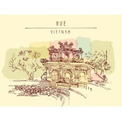 Art Print: Hue, Vietnam. Imperial Citadel Gate. Hand Drawn Postcard in Retro Style by babayuka: 24x18in