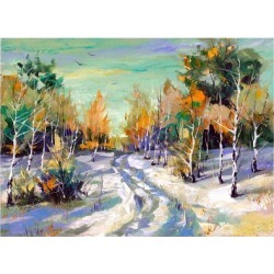 Art Print: The Winter Landscape Executed By Oil On A Canvas by balaikin2009: 16x12in