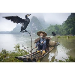 Photographic Print: Cormorant Fisherman and His Bird on the Li River in Yangshuo, Guangxi, China. by SeanPavonePhoto: 24x16in
