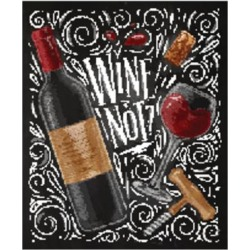 Art Print: Wine Poster Lettering Wine Not with Illustrated Bottle, Glass, Cork, Corkscrew and Design Elements by anna42f: 24x18in