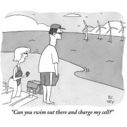 "Premium Giclee Print: ""Can you swim out there and charge my cell?"" - New Yorker Cartoon by Peter C. Vey: 12x9in"