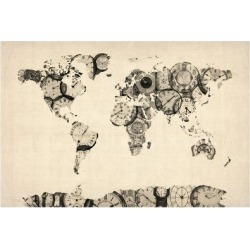 Art Print: Map of the World Map from Old Clocks Art Print by Michael Tompsett: 24x16in found on Bargain Bro India from Art.com for $20.00
