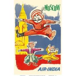 Art Print: Moscow Russia - Air India Mascot Maharaja - Barynya Russian Folk Dance by J.B. Cowasji: 18x12in
