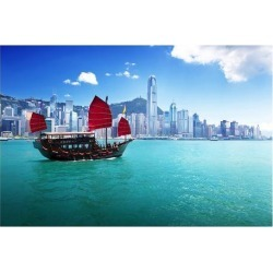 Premium Giclee Print: Hong Kong Harbour & Red Junk: 44x56in