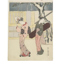 Giclee Print: Entertainer and Her Attendant in Front of Matsumoto-Ya, C. 1768 by Suzuki Harunobu: 24x18in found on Bargain Bro India from Art.com for $25.00