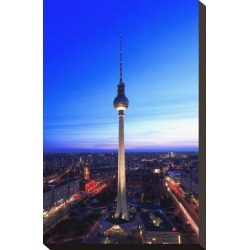 Stretched Canvas Print: Television Tower on Alexanderplatz Square at Dusk, Berlin, Germany: 15x10in found on Bargain Bro Philippines from Art.com for $60.00