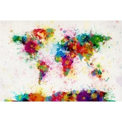 Art Print: World Map Paint Splashes Art Print by Michael Tompsett: 24x16in found on Bargain Bro India from Art.com for $20.00