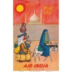 Art Print: Middle East - Air India - Maharaja with Burka Veiled Woman by J B. Cowasji: 18x12in