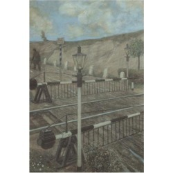 Premium Giclee Print: Railway Cycle: Boom Barrier Wall Art by Hans Baluschek by Hans Baluschek: 16x12in