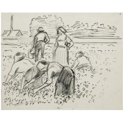 Giclee Print: Study of Five Peasant Figures Working in a Field, 1887 by Camille Pissarro: 24x18in