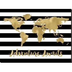 Stretched Canvas Print: World Map Black White Stripe Adventure Awaits by Amy Brinkman: 33x44in