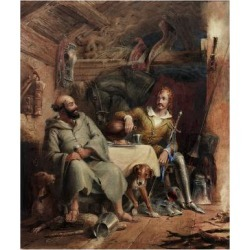 Giclee Print: Friar Tuck and the Black Prince (Watercolour and Bodycolour on Paper on Card) by Henry Liverseege: 24x18in