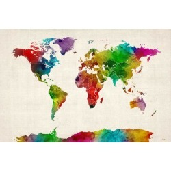 Art Print: Watercolor Map of the World Map Art Print by Michael Tompsett: 24x16in found on Bargain Bro India from Art.com for $20.00