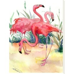 Stretched Canvas Print: Flamingos by Suren Nersisyan: 16x12in found on Bargain Bro India from Art.com for $75.00