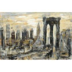 Art Print: Brooklyn Bridge Gray and Gold by Silvia Vassileva: 24x16in