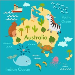 Art Print: Animals World Map Australia by coffeee in: 12x12in
