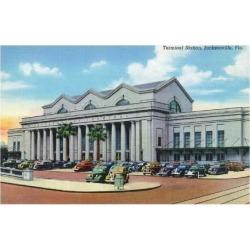 Art Print: Jacksonville, Florida - Exterior View of Terminal Train Station by Lantern Press: 24x18in