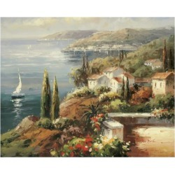 Art Print: Mediterranean Vista Art Print by Peter Bell by Peter Bell: 22x26in