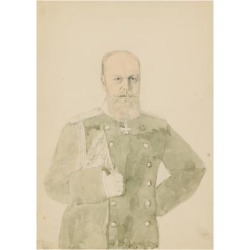 Giclee Print: Portrait of Emperor Alexander III (1845-1894) (Pencil and W/C on Paper) by Mihaly von Zichy: 24x18in