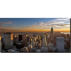 Stretched Canvas Print: Sunset Over Manhattan: 18x37in found on Bargain Bro India from Art.com for $195.00