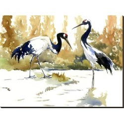 Stretched Canvas Print: Japanese Cranes by Suren Nersisyan: 36x48in found on Bargain Bro from Art.com for USD $121.60