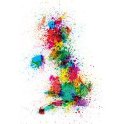 Art Print: Great Britain UK Map Paint Splashes Art Print by Michael Tompsett: 24x18in found on Bargain Bro India from Art.com for $20.00