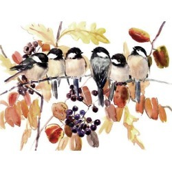 Art Print: Chickadees In The Fall by Suren Nersisyan: 30x40in found on Bargain Bro from Art.com for USD $26.60