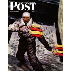 "Giclee Print: ""Flight Controller on Aircraft Carrier,"" Saturday Evening Post Cover, June 12, 1943 by Mead Schaeffer: 24x18in"