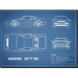 Stretched Canvas Print: Ferrari 328-GTB-Blue by Mark Rogan: 30x40in found on Bargain Bro India from Art.com for $118.00