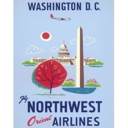 Giclee Print: Washington, D.C. - United States Capitol - Washington Monument - Fly Northwest Orient Airlines: 20x16in