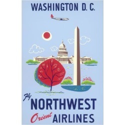 Giclee Print: Washington, D.C. - United States Capitol - Washington Monument - Fly Northwest Orient Airlines: 44x30in