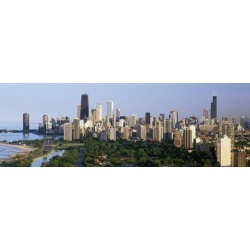 Photographic Print: Hancock Building and Sears Tower, Lincoln Park, Lake Michigan, Chicago, Illinois, USA: 42x14in